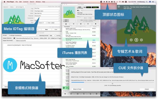 Mac的支持无损音乐的好用的音乐播放器 : Pine Player
