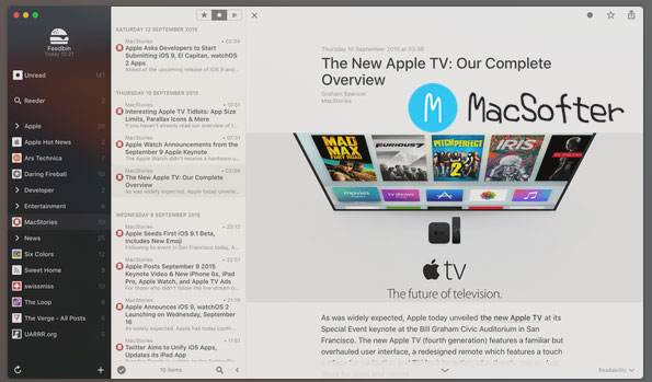 Mac的RSS阅读器 : Reeder