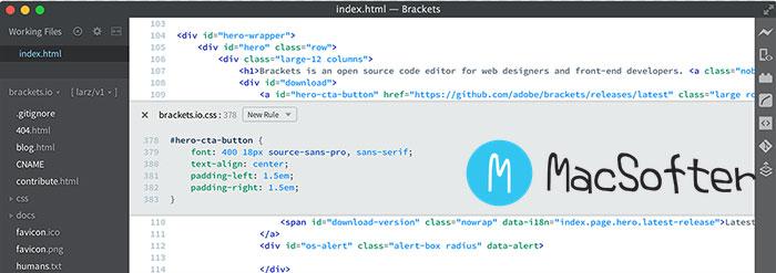 Brackets :Mac 基于HTML5 (Node-Webkit) 的本地编辑器/IDE