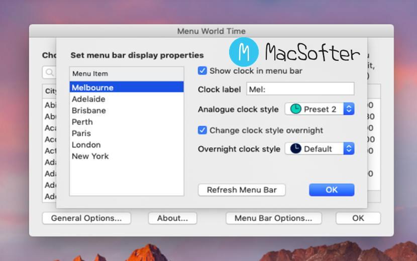 [Mac] Menu World Time : 菜单栏的世界时钟软件