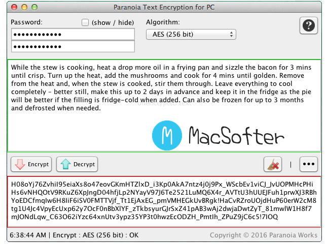 [Mac] Paranoia Text  Encryption : 简单方便的文本加密工具