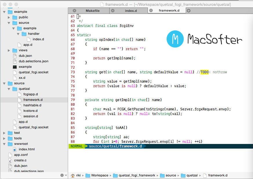 [Mac] VimR : 好用的带GUI的vim编辑器
