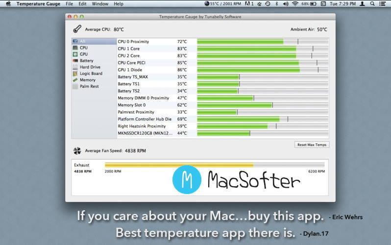 [Mac] TG Pro(Temperature Gauge Pro) : 温度监控及风扇速度控制诊断工具