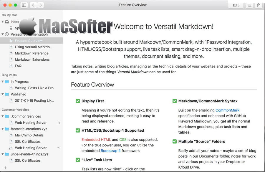 [Mac] Versatil Markdown :简约的Markdown编辑器和笔记软件
