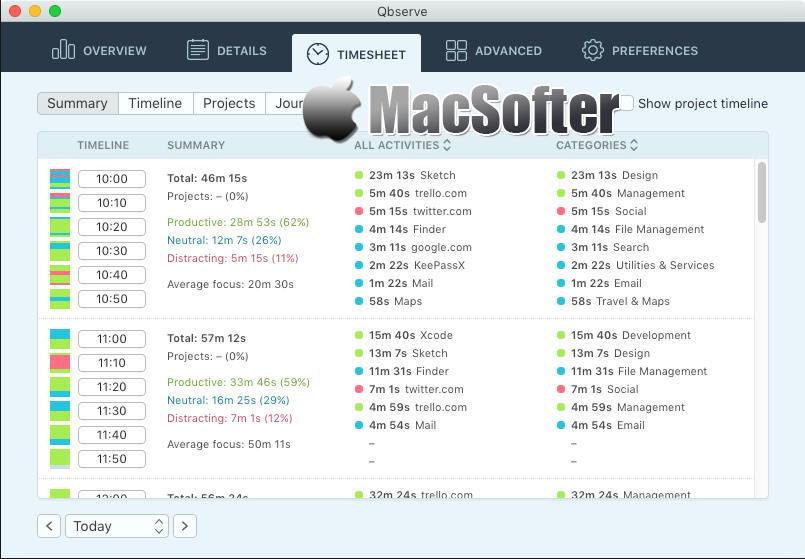 [Mac] Qbserve :时间消耗跟踪统计工具