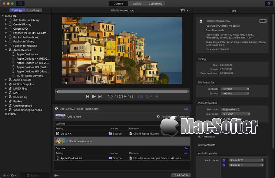 [Mac] Apple Compressor : 专业的电影视频后期制作工具