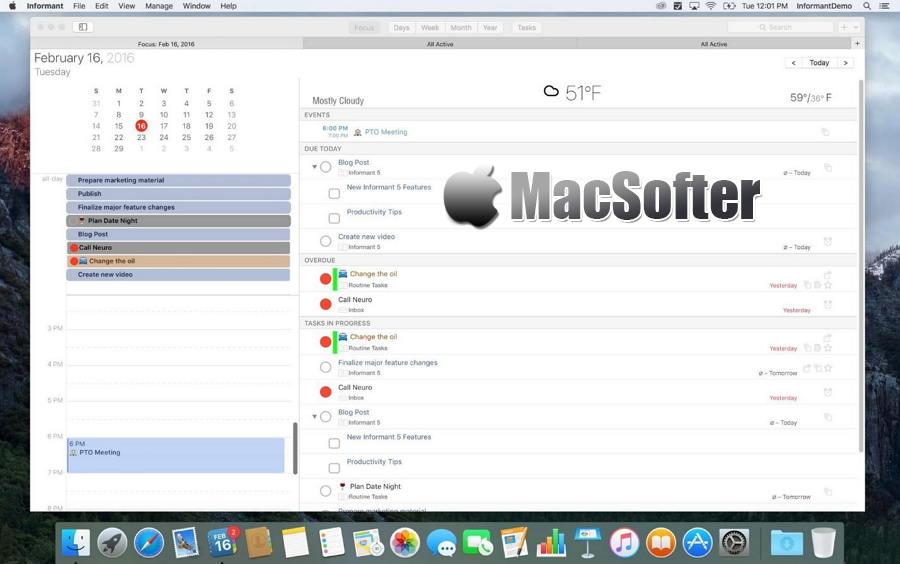 [Mac] Informant : 全功能的日历工具及GTD任务管理工具