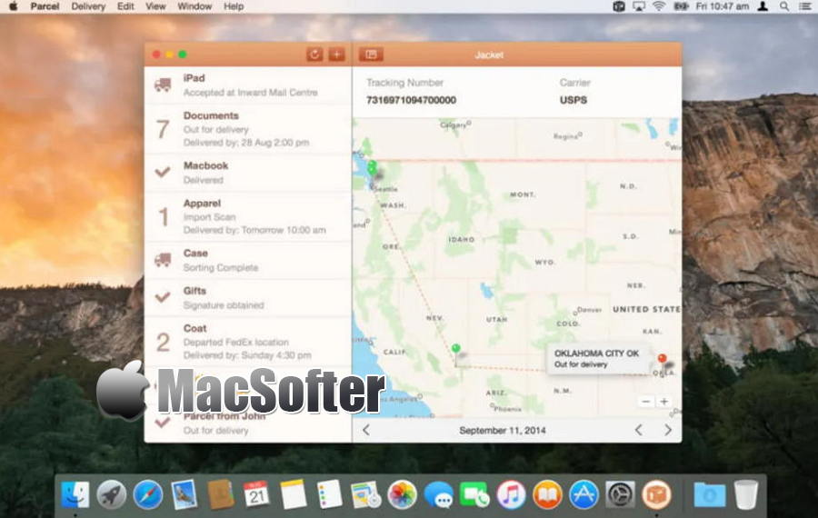 [Mac] Parcel :国际化的快递物流信息跟踪查询软件