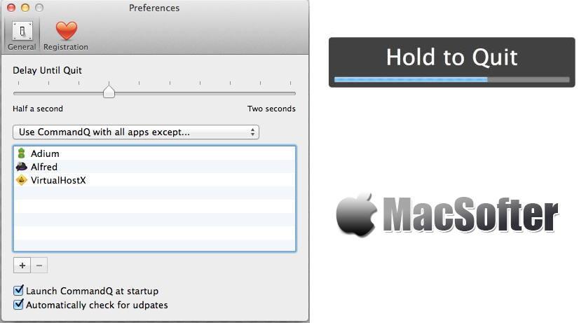 [Mac] CommandQ : 通过为command+Q快捷键增加延时效果来防止误按command+Q退出的小工具