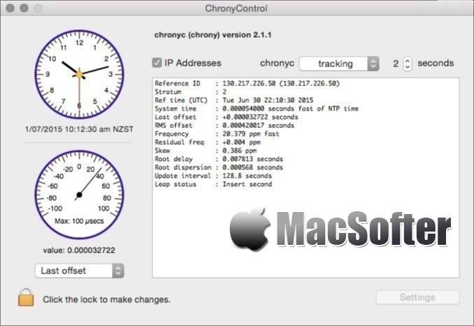[Mac] ChronyControl : Chrony时间同步工具