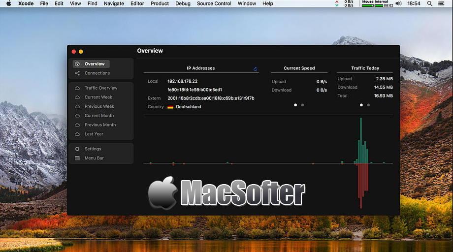 [Mac] NetWorker : 菜单栏中的网速和流量监控软件