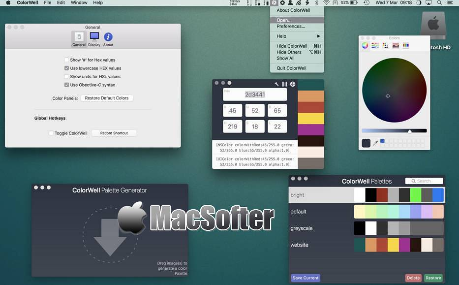 [Mac] ColorWell : 方便快速的取色器工具