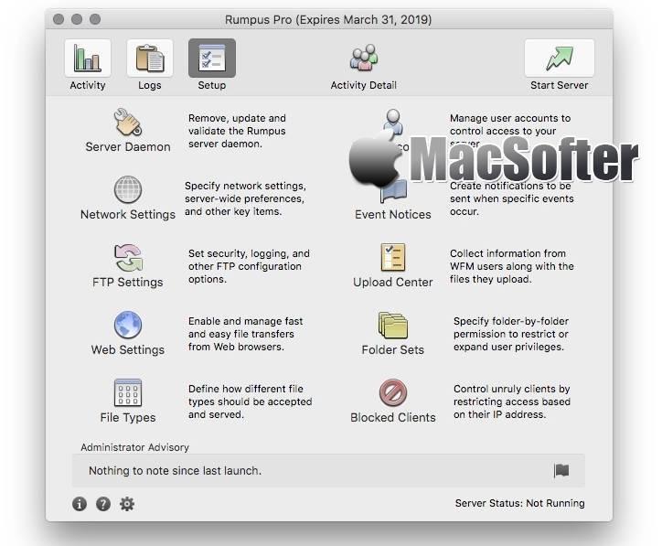 [Mac] Rumpus : 专业高性能的FTP服务器工具