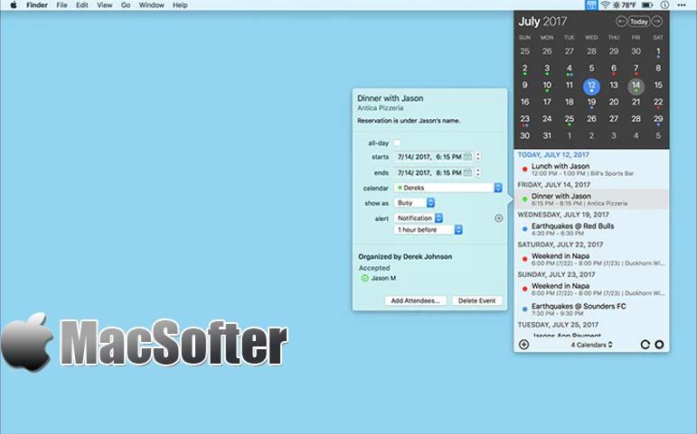 [Mac] InstaCal : 方便的菜单栏日历工具