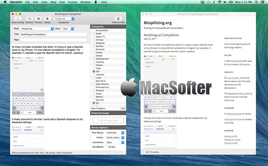 [Mac] MarsEdit  : 离线博客编辑及发布工具