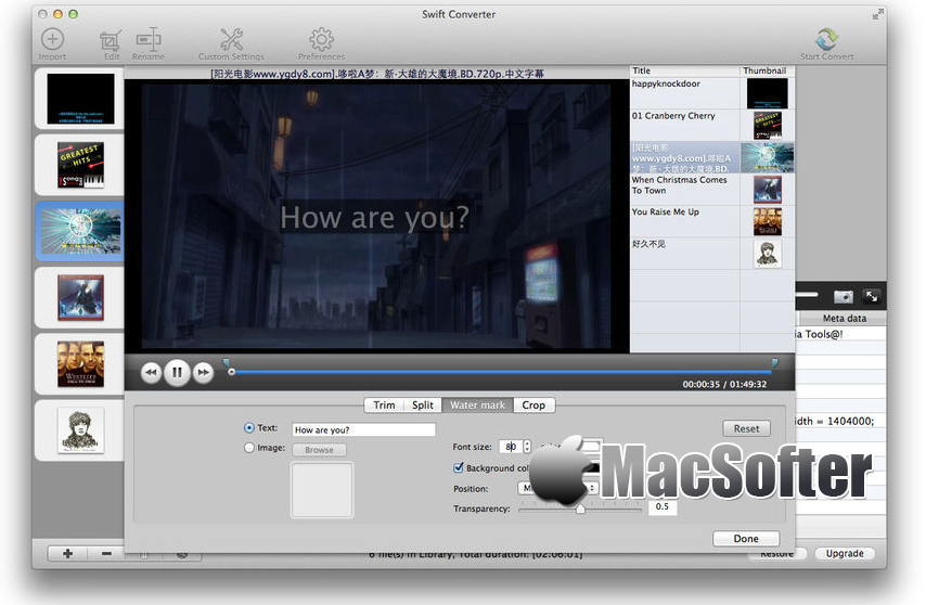 [Mac] Swift Converter : 视频音频格式转换及编辑工具