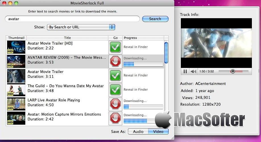 [Mac] MovieSherlock : 在线网页视频下载及格式转换工具