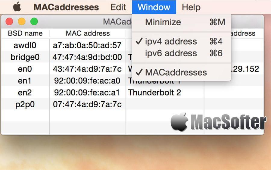 [Mac] MACaddresses : 显示硬件MAC地址的工具
