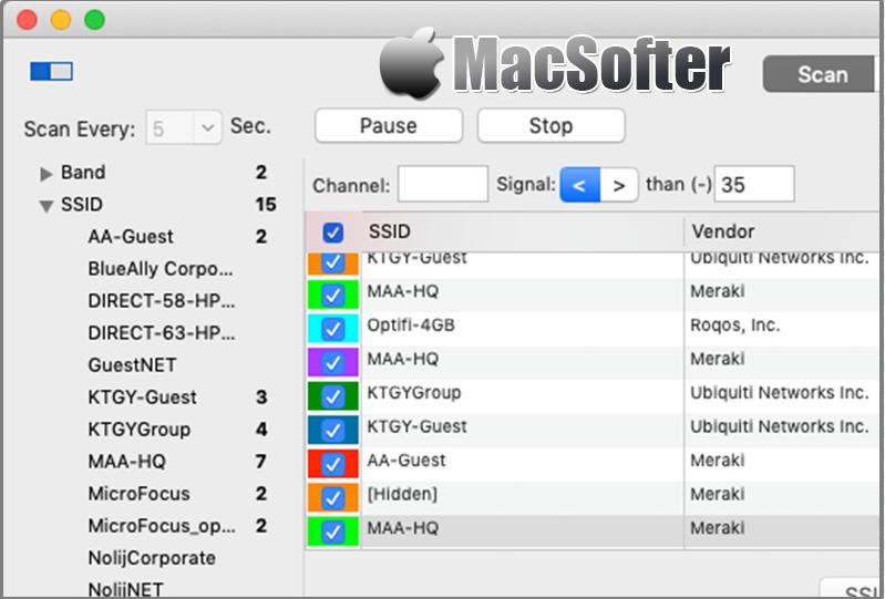 [Mac] WiFi Scanner :Wifi无线网络扫描管理工具