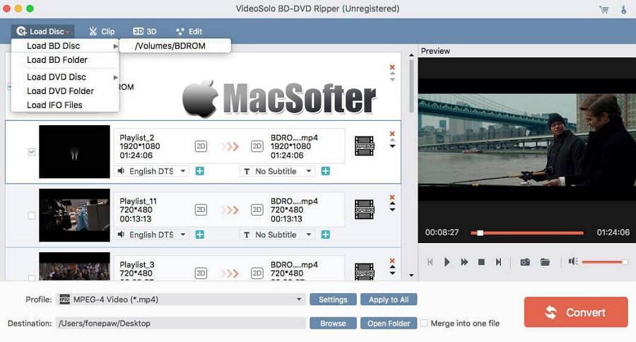 [Mac] VideoSolo BD-DVD Ripper : 蓝光DVD视频格式转换工具