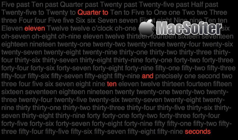 [Mac] Word Clock : 艺术风的文字时钟屏保工具