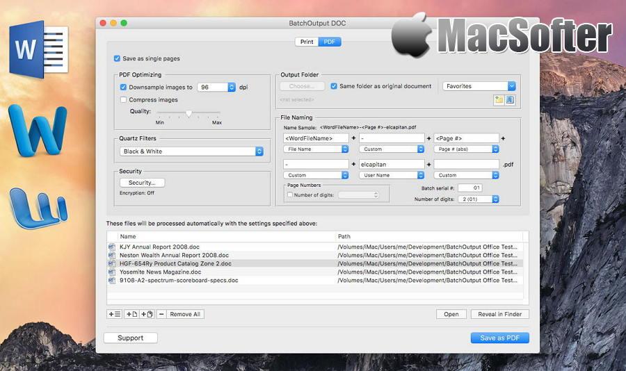 [Mac] BatchOutput DOC : 批量word文档转PDF文档及批量word文档打印工具