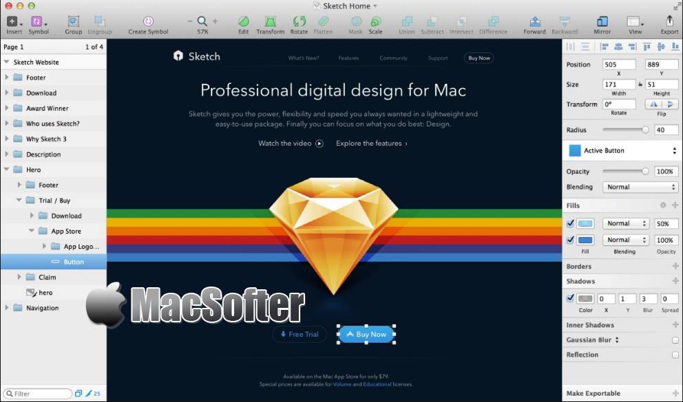 [Mac] Sketch : 移动应用设计矢量绘图软件