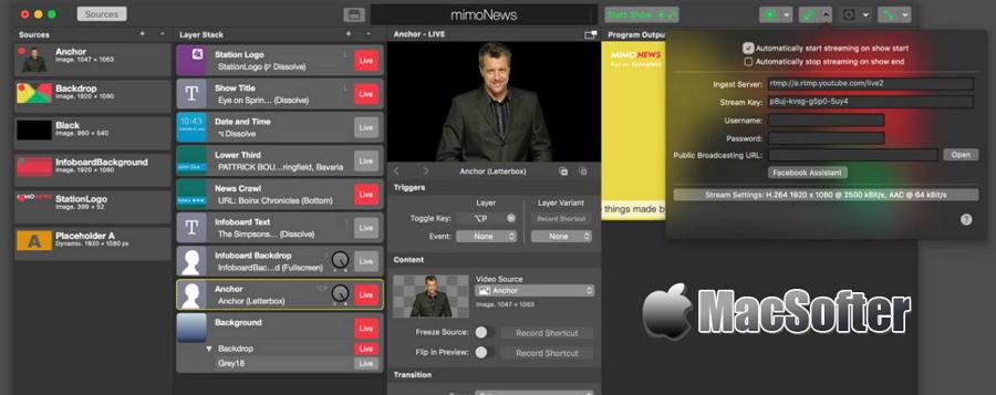 [Mac] Boinx mimoLive : 专业的实时视频直播工具