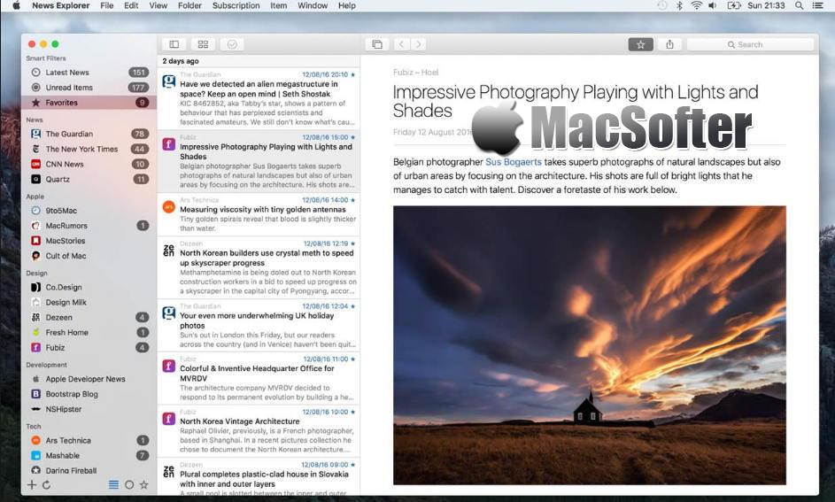 [Mac] News Explorer : 支持iCloud同步的新闻订阅阅读工具
