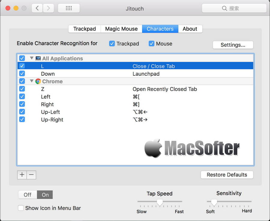 [Mac] Jitouch : 触摸手势操作增强工具