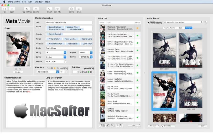 [Mac] MetaMovie : 电影资料批量整理及电影资料库管理工具
