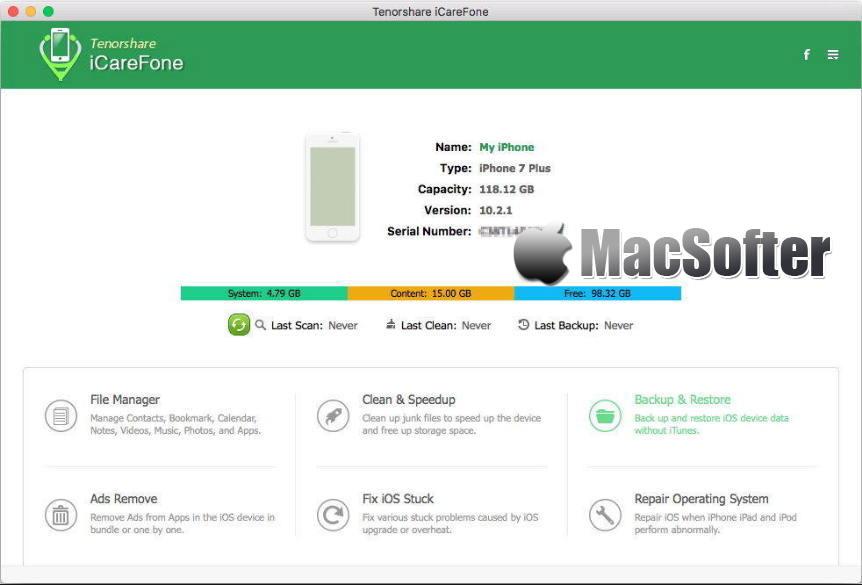 [Mac] Tenorshare iCareFone : iPhone、iPad等iOS设备优化维护工具