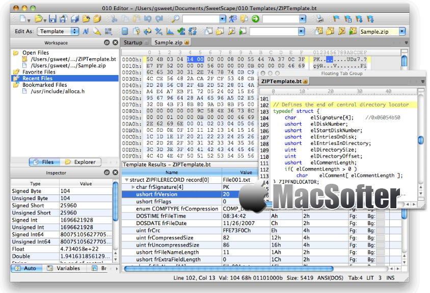 [Mac] SweetScape 010 Editor : 专业的十六进制编辑器