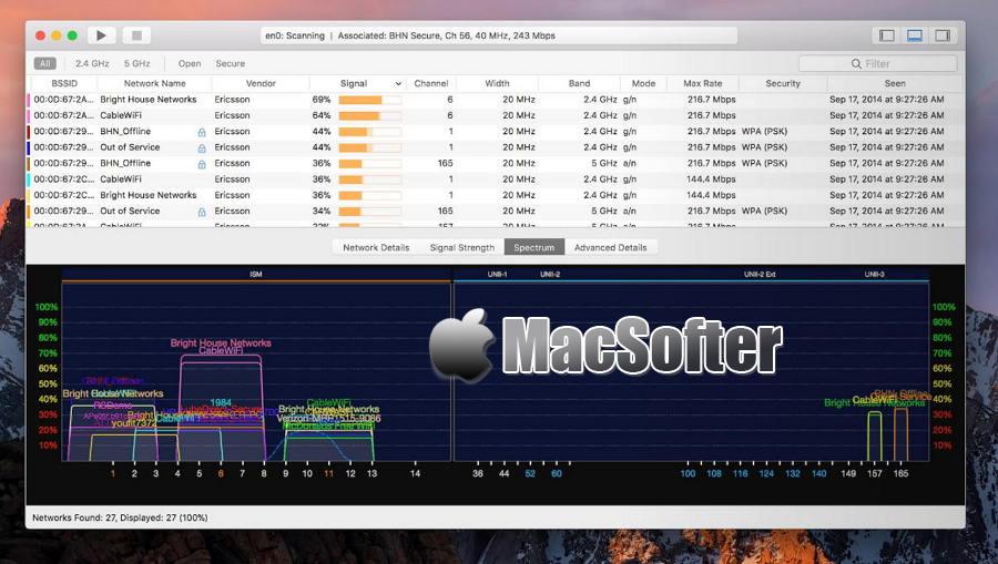 [Mac] WiFi Explorer : wifi检测及wifi无线网络故障排除工具