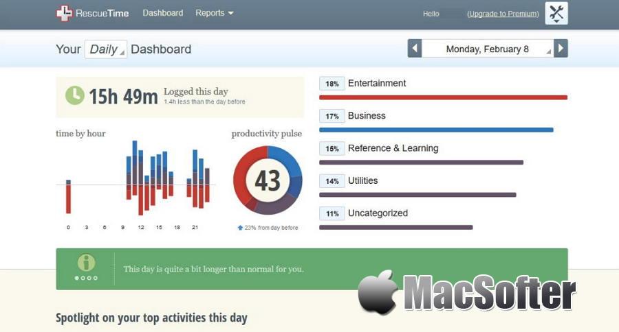 [Mac] RescueTime : 时间跟踪统计分析工具