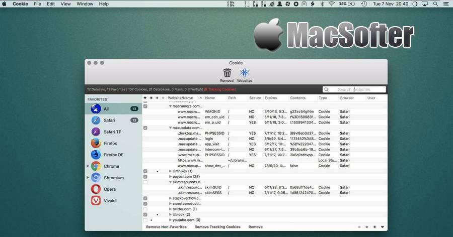 [Mac] Cookie : Cookies管理及清理工具