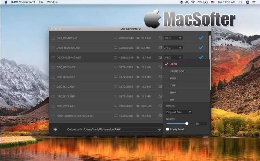 [Mac] RAW Converter : RAW照片格式转换工具