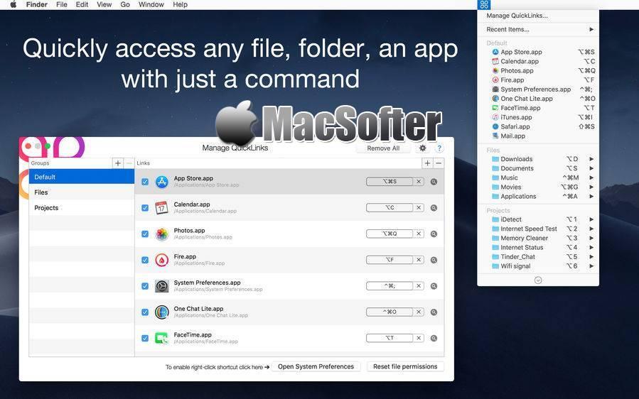 [Mac] QuickLinks : 自定义快捷键启动软件或快速访问工具