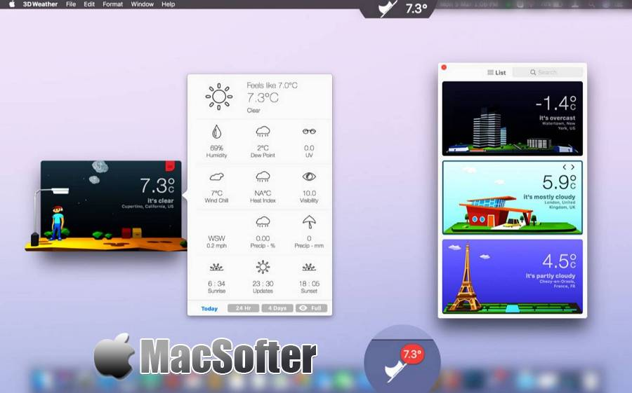 [Mac] 3DWeather : 精美的桌面天气预报软件