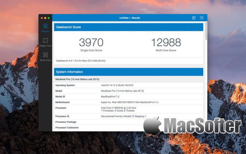 [Mac] Geekbench : 检测硬件性能的电脑跑分软件