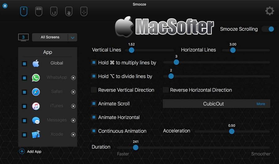 [Mac] Smooze : 强大的鼠标功能及滚动体验增强软件