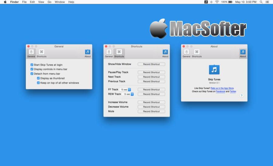 [Mac] Skip Tunes : 菜单栏的Spotify和iTunes音乐播放控制软件