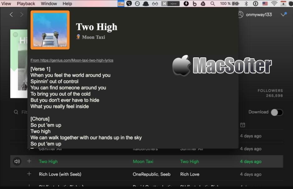 [Mac] Lyrics : Spotify音乐歌词匹配显示软件