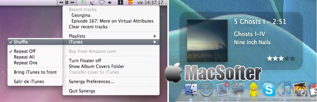 [Mac] Synergy : 通过菜单栏控制iTunes音乐播放的工具