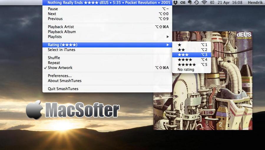 [Mac] SmashTunes : 菜单栏iTunes及Spotify播放控制工具