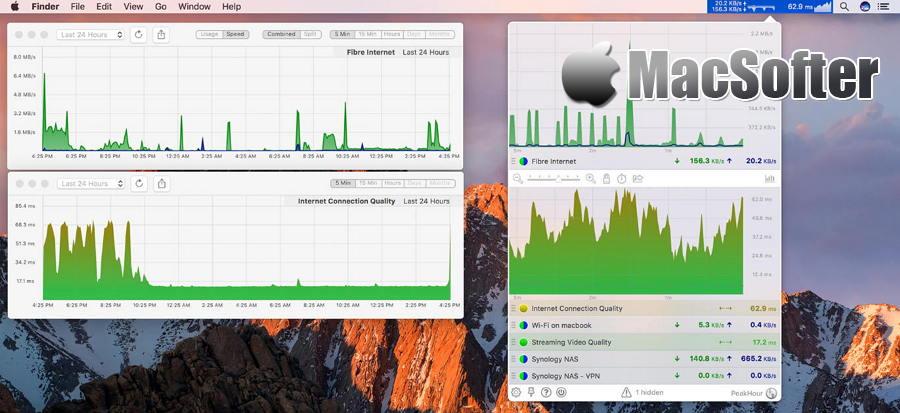 [Mac] PeakHour : 方便好用的实时网络监控及流量监控软件