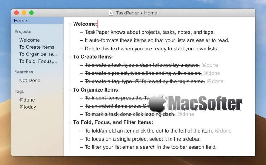 [Mac] TaskPaper : 好用的GTD任务清单管理工具