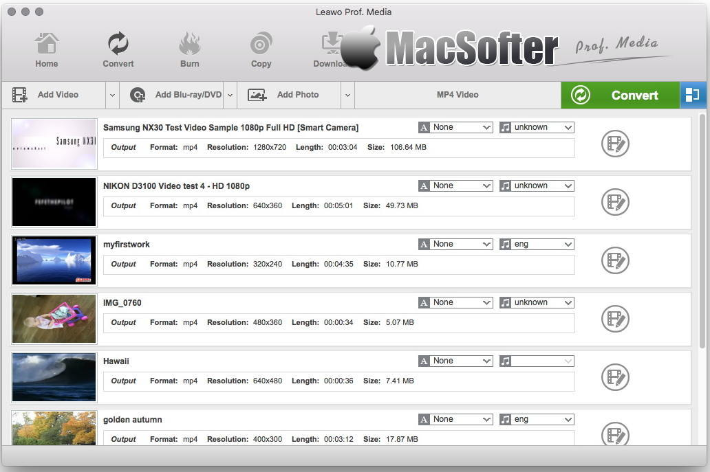 [Mac] Leawo Prof. Media : 专业的音频视频格式转换工具