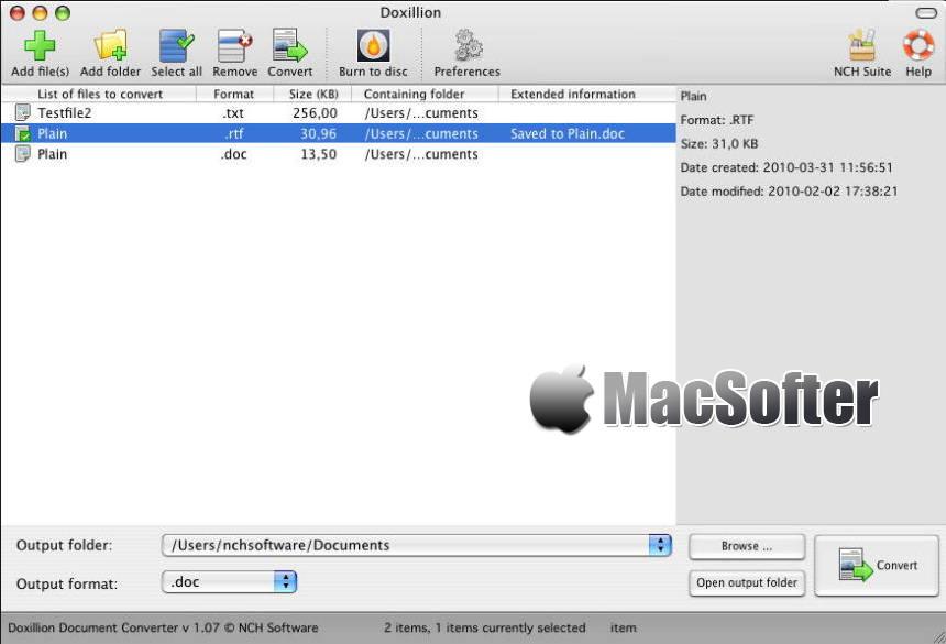 [Mac] NCH Doxillion Plus : 文档格式转换工具