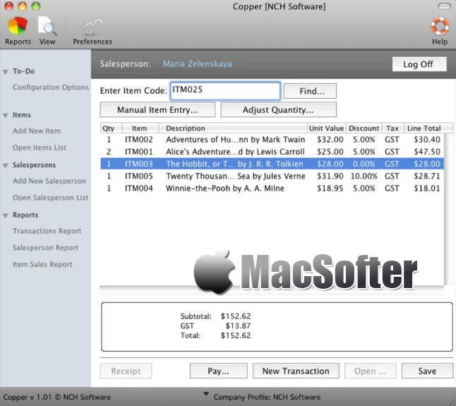 [Mac] NCH Copper Plus : 专业的POS收银软件